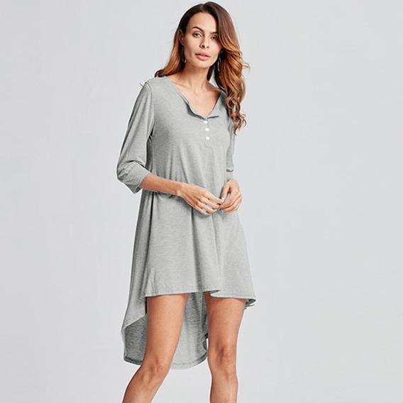 Moda Mujeres Largo Túnica Superior Básico T - Camisa Botó
