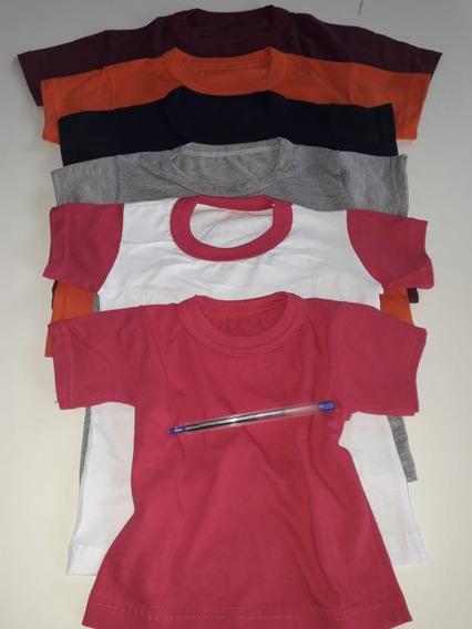 Camisetas Infantil Lisa Algodão Kit 10 Peças