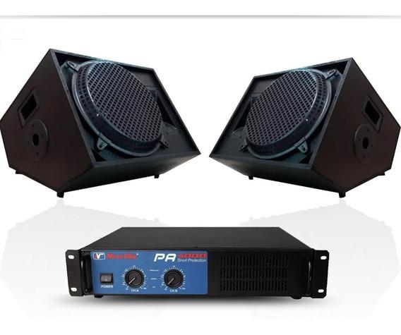 Kit Potência New Vox Pa-600 300w Rms + 2 Caixas Retorno