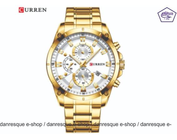 Relógio Curren 8360 Dourado Aço Inox Casual Luxo