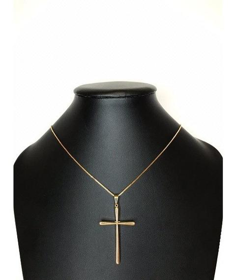 Corrente Veneziana Crucifixo Palito Banhado A Ouro Amarelo