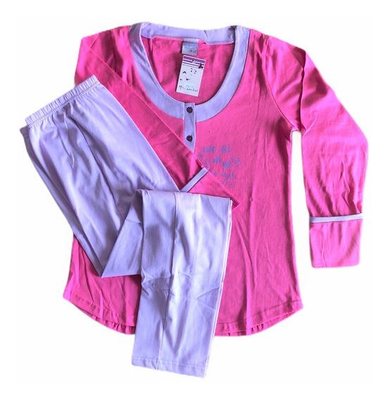 Pijama De Mujer Invierno Jersey Liso Con Estampa