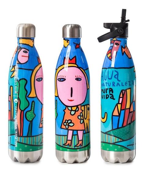 Botella Térmica Reutilizable Deportiva 750 Ml + Pico Cebador | Pura Vita By Milo Lockett | Empresa B Certificada Anmat