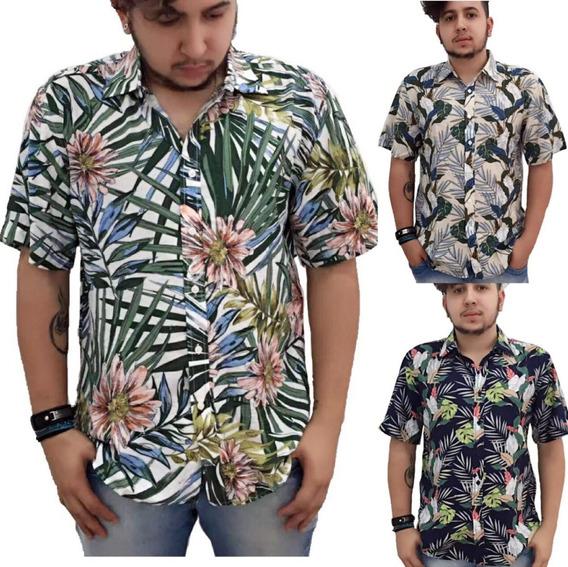 Camisas Florida Kit14 Masculina De Viscose Calor Verão Praia