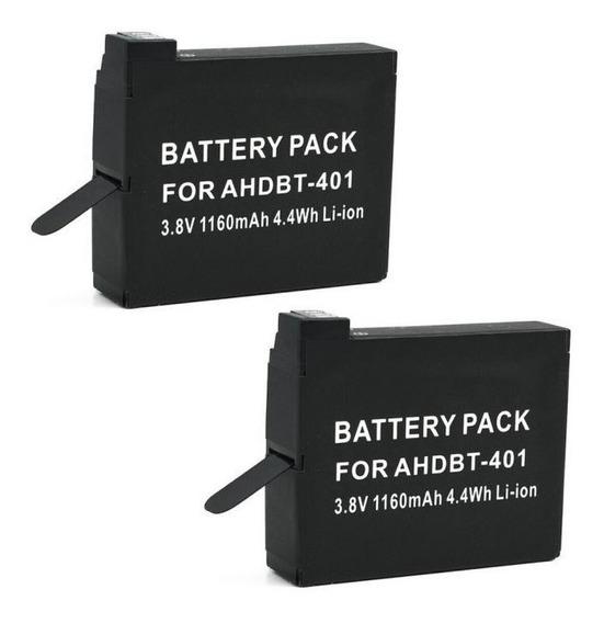 Kit Duas Baterias P/ Gopro Hero4 4k Black E Silver Edition
