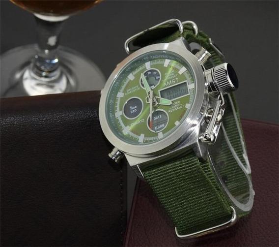 Relógio Original Amst Prata Barato Digital Verde Masculino