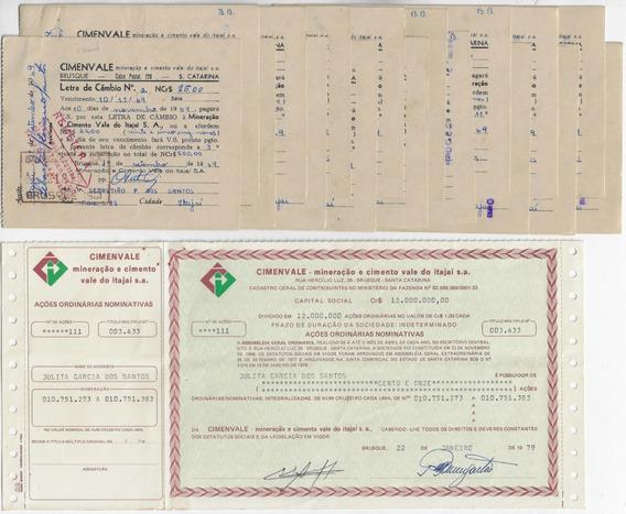 1979 Ação Ordinária Nominativa 17 Letras De Câmbio Cimenvale