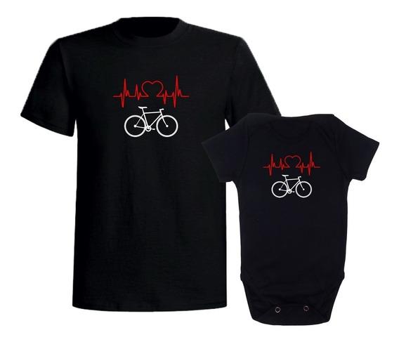 Kit Camiseta Tal Pai Tal Filho(a) Ciclismo Body Bicicleta