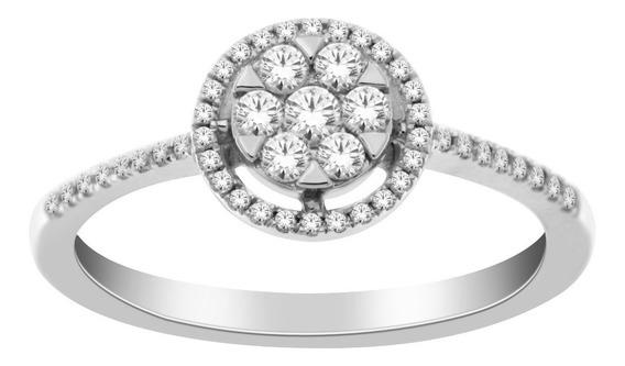 Anillo Para Dama De Oro Blanco De 14k Con 49 Diamantes