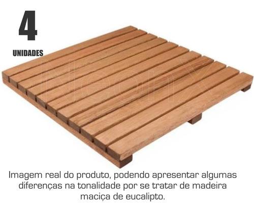 Imagem 1 de 5 de Kit 4 Unidades Deck De Madeira Modular Base 50x50 Cm Neonx