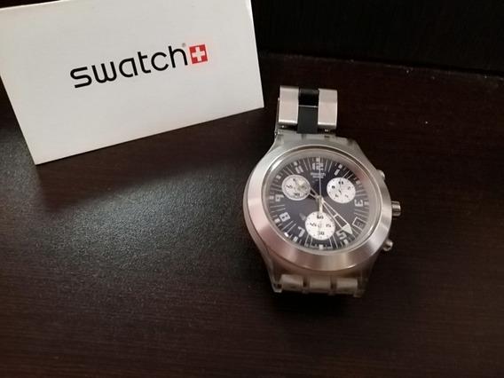 Reloj Swatch De Aluminio Para Caballero Cronos Carátula Azul