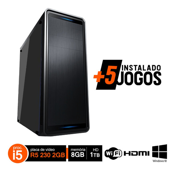 Pc Gamer Completo I5 3470 8gb Hd 1tb R5 230 Wifi W10 Hdmi
