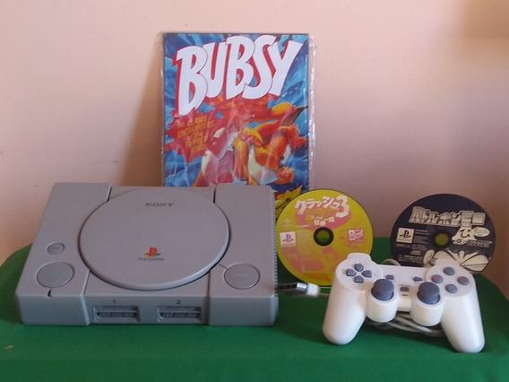 Playstation 1 Fat C/ 2 Jogos Chash 3 E Outro Japa Ler Descri