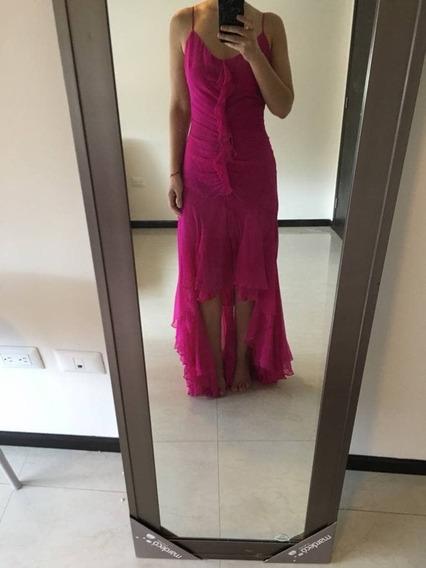 Vestido De Gasa Color Fucsia/rosa Bcbg