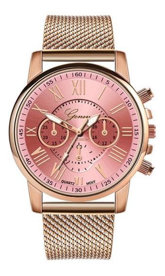Ouro Net Aço Inoxidável Relógio De Quartzo Relógio De Luxo H