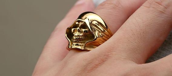 Aço Inox Anel Skull - Banhado Ouro - Tamanho 22