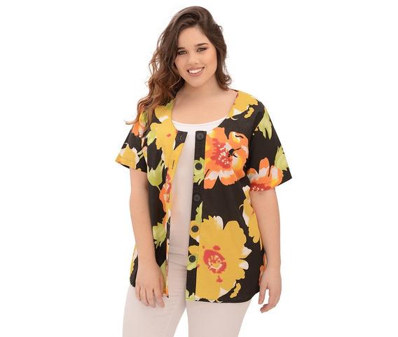 Camisa Portofem De Fibrana Estampada - Talles Grandes