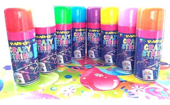 24 Serpentina Spray 7 Colores Surtidos Crazy String