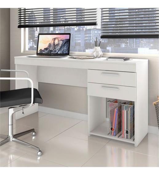 Mesa Home Office P/ Escritório 02 Gavetas Notável Branco