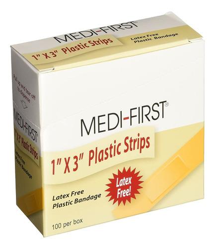 Imagen 1 de 3 de Medi-first 60033 - Banda De Plastico, 1.0 X 3.0in, 100 Un
