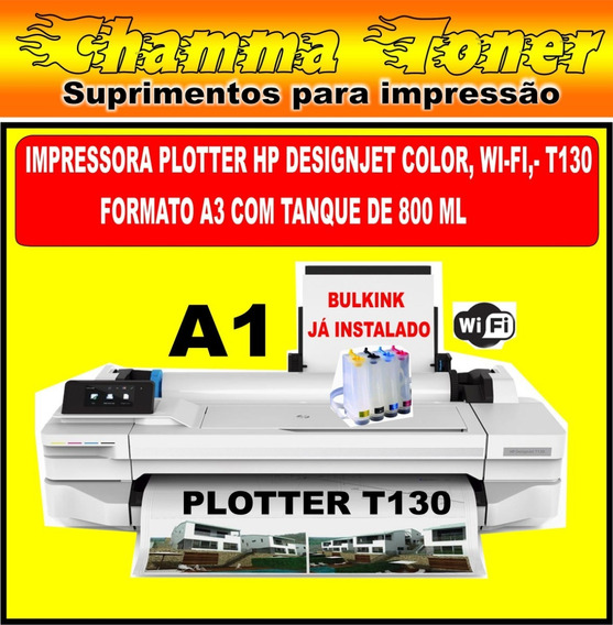 Impressora Hp Plotter T130 Com Bulkink 800 Ml Instalado