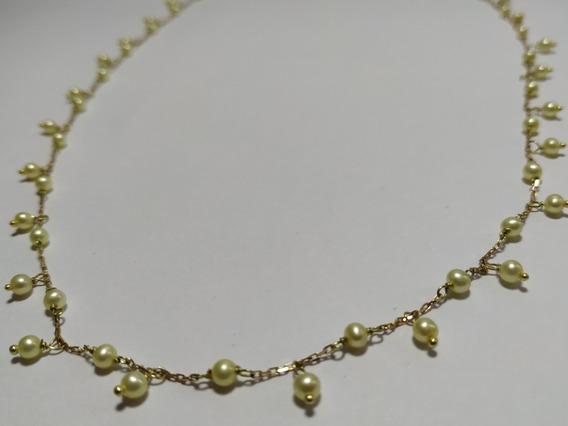 Colar De Pérolas Amareladas Naturais Em Corrente Ouro 18k