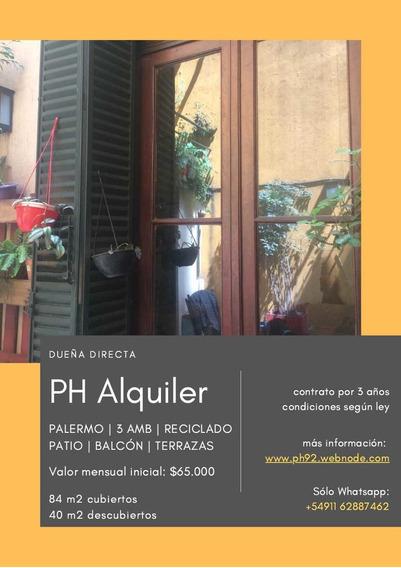 Palermo Ph Reciclado, 3 Ambientes Patio Y Terrazas.