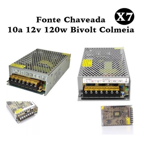 Kit 7 Fonte Chaveada 10a 12v 120w Bivolt Colmeia P/ Cftv