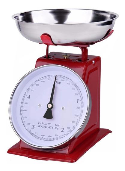 Báscula De Cocina Retro 5 Kg Rojo - Ba2001