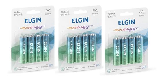 Kit 12 Bateria Pilha Aa Lr6 Alcalina Elgin