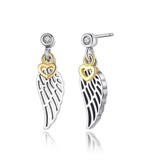 Brinco Feminino De Prata Pura + Coração De Ouro 18k Luxo