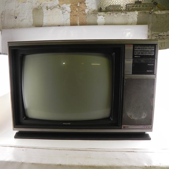 Tv Antiga Philips Trend 1 Vintage Decoração C/ Defeito