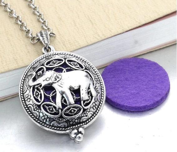 Lindo Colar Elefante Difusor De Perfume Aromaterapia Vintage
