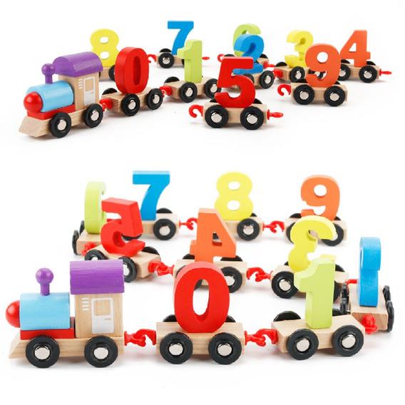 Trem De Blocos Digitais Geomtricos De Brinquedo Colorido