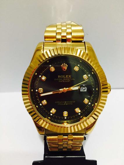 Relógio Date Just Gold Black + 2 Baterias De Brinde!!!