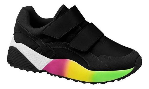 Tênis Feminino Sneaker Vizzano Chunky Preto Colorido 1296303