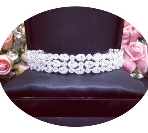 Acessórios Para Noiva Tiara Coroa Porta Coque Zirconia Noiva