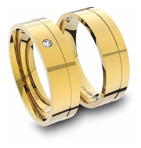 Alianças De Ouro 18k Anatômica Com Diamante (5.5 Mm Largura)