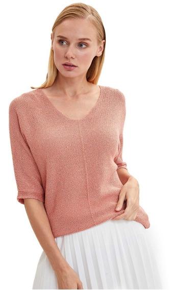 Suéter Defacto K6610az_og98 Escote En V Naranja Para Mujer