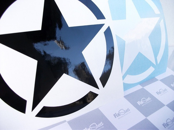 Par De Adesivos Estrela Militar Redonda 20x20cm - Fix Street