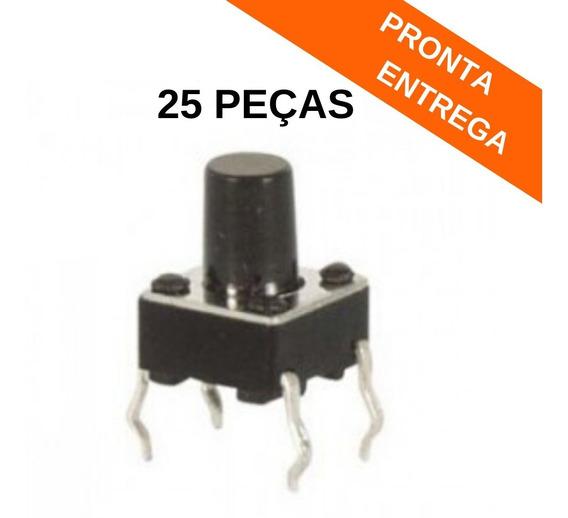 6x6x9 Chave Tactil 180º Graus 4 Terminais 6x6x9.0 (25 Peças)