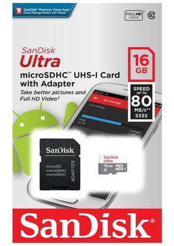 Memoria Micro Sd Sandisk 16gb Clase 10-80mbps