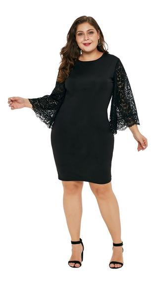 Vestido Talla Extra Plus De Noche Coctel Negro De Encaje N15