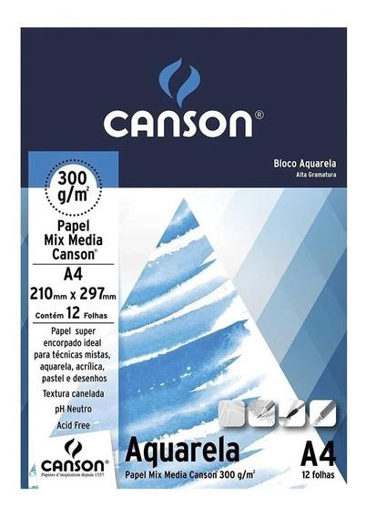 Bloco De Papel Canson Aquarela A4 300g 12 Folhas