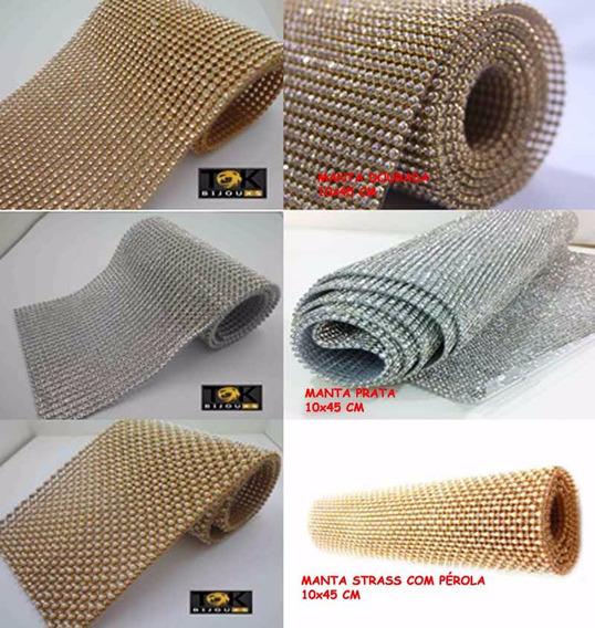 3 Mantas Strass - Pérola / Dourada / Prata - Kit 10x45cm