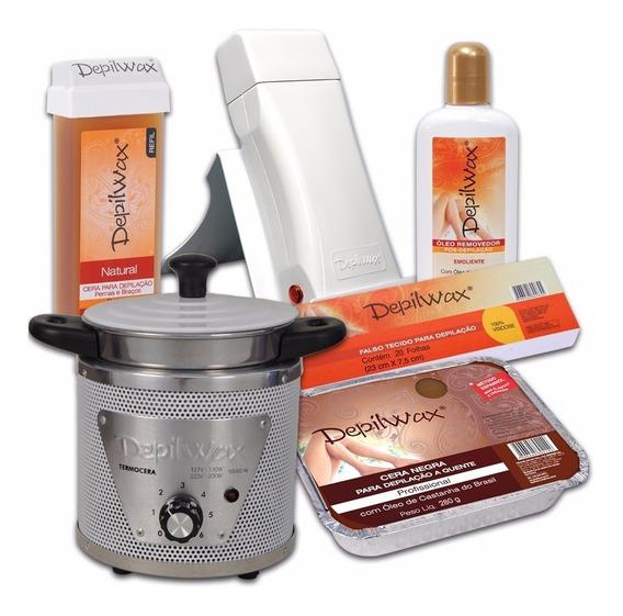 Kit Depilação Termocera+depilador Roll-on+ceras+lenço+óleo