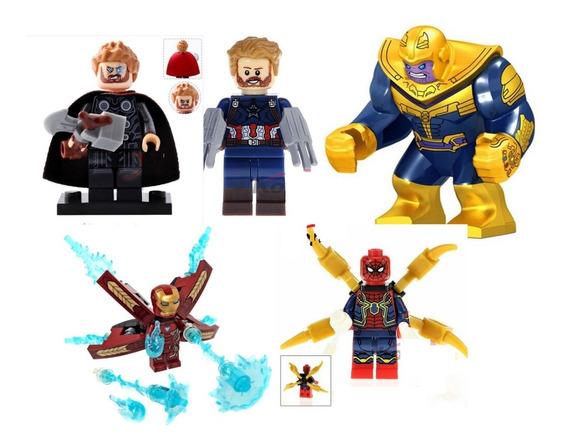 5 Figuras Thanos Thor Ironman Spiderman Capi Compatible Bloq