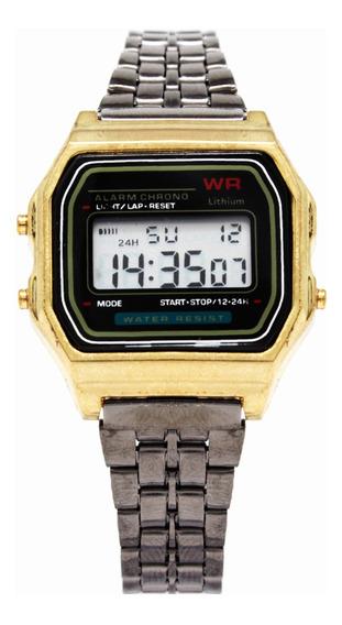 Reloj Retro Mini Negro/dorado