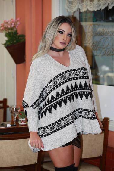 Blusa Feminina Poncho Tricot Tricô Frio Inverno 2019 Qualida