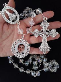 Terço Noiva Banhado A Prata, C/ Cristal, Com Relicário